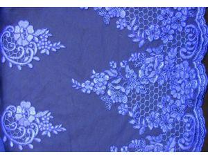 Вышивка на сетке Embroidery синяя