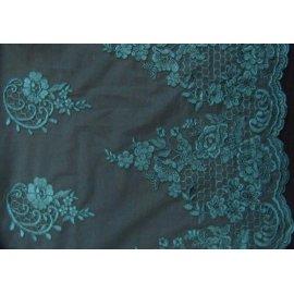 Вышивка на сетке Embroidery тёмно-зелёная (бутылка)