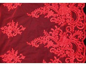 Вышивка на сетке Embroidery красная