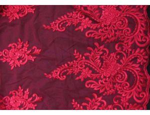 Вышивка на сетке Embroidery бордовая