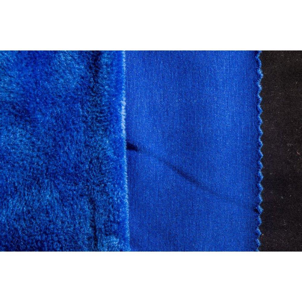 Трикотаж на меху синий
